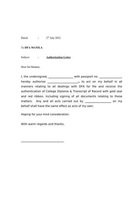 letter of authorization 2 authorization letter dfa 34121