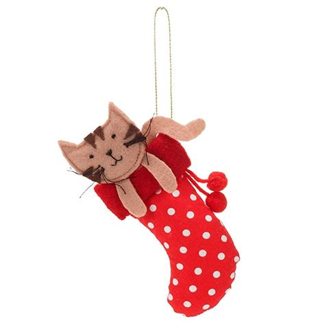 felt cat in a stocking decoration from accessorize
