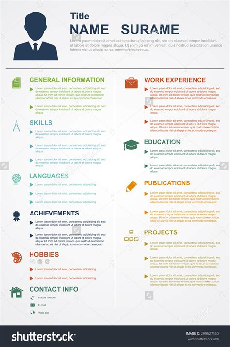 sle professional profile resume summary stock vector