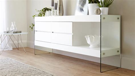 White And Oak Sideboard by White Oak Sideboard For Storage Funky Tempered Glass