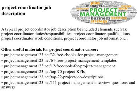 project coordinator description