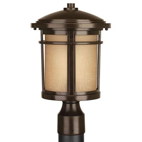 progress lighting  led antique bronze led post light