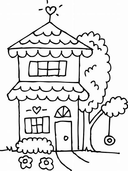 Clipart Coloring Story Clip Outline Line Houses