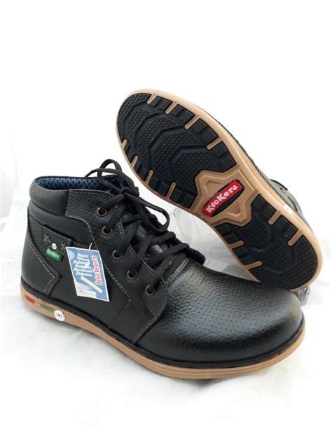 jual sepatu boot pria kulit asli kickers touring casual hitam di lapak lalashoes jono proyek