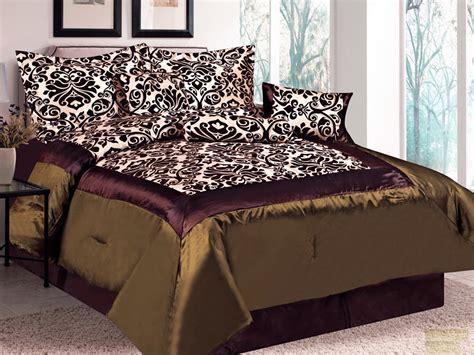 7 pc damask floral flocking satin comforter set brown