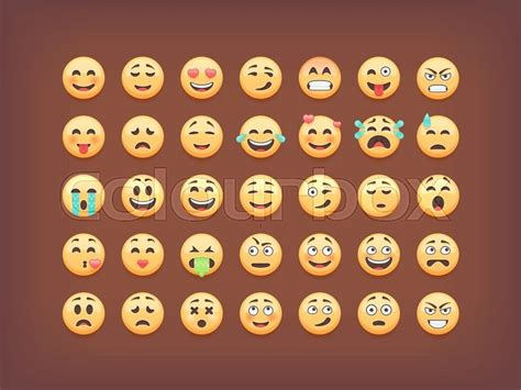 set  emoticons smileys icon pack stock vector