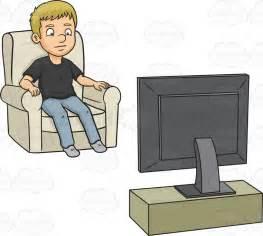 Cartoon Man Watching TV