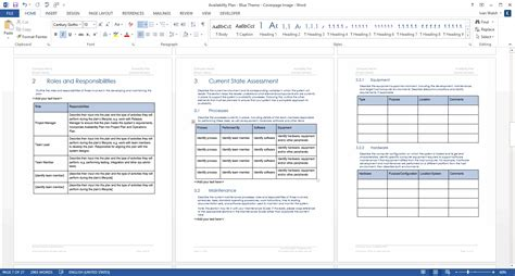 availability plan template ms word templates forms