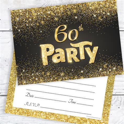 Black and Gold Effect 60th Birthday Party Invitations
