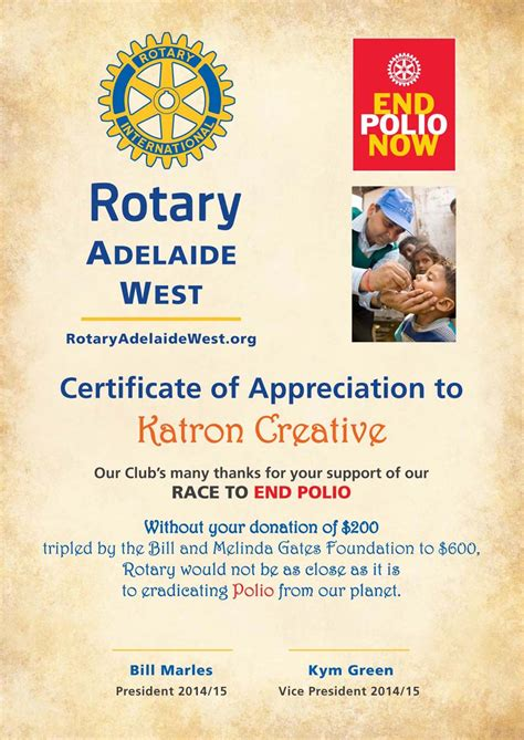 Rotary Club Certificate Template by Rotary Club Of Adelaide West