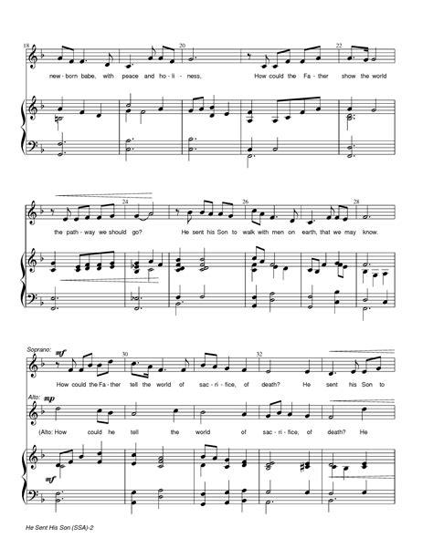 music sheet sent son he song arrangement piano freeldssheetmusic sally deford