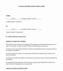 Pret Caf Pour Voiture : contrat de pr t de biens entre particuliers mod le ~ Gottalentnigeria.com Avis de Voitures