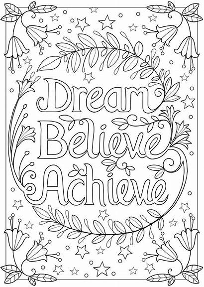 Coloring Believe Dream Adult Achieve Yourself Inspirational