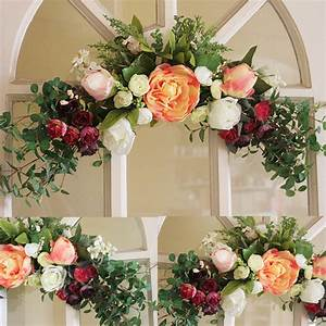Wreaths rose artificial flower garland wall mounted