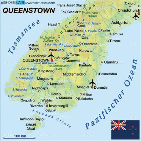 political map  queenstown  zealand political map