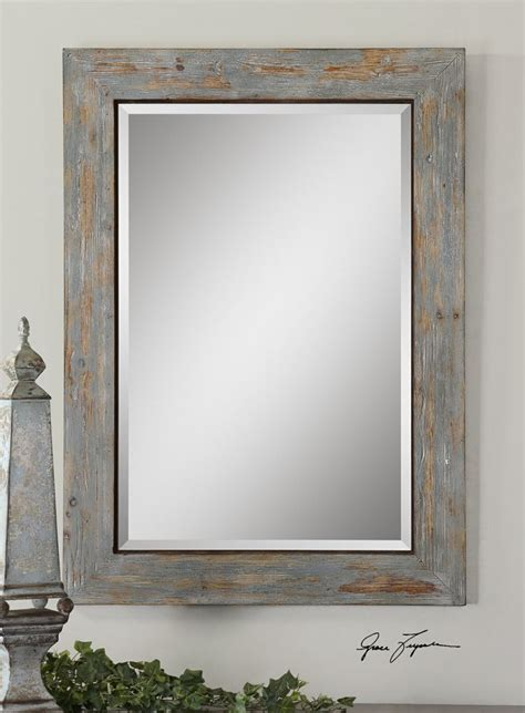 Traditional Bathroom Mirror by Distressed Wood Mirror Our House Powder Room