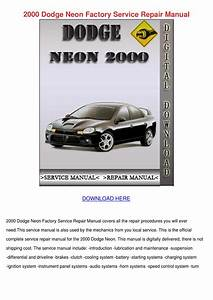 2000 Dodge Neon Factory Service Repair Manual By