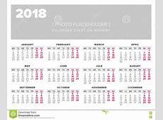 Calendar 2018 Year Vector Design Template Stock Vector