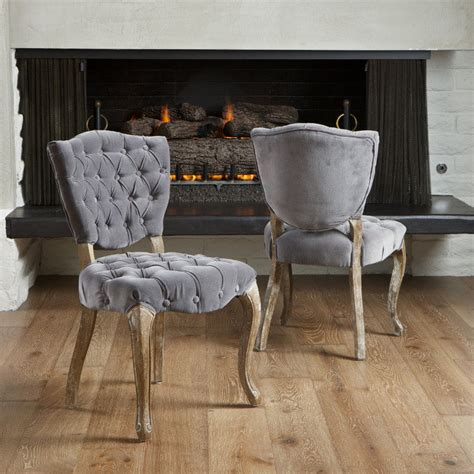Set Of 2 French Design Weathered Oak Dining Chairs