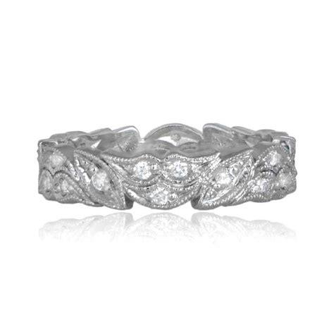 floral motif platinum wedding band 0 36ct of h color