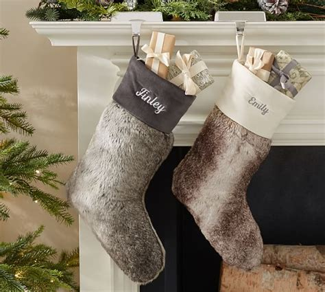 ombre faux fur stocking pottery barn