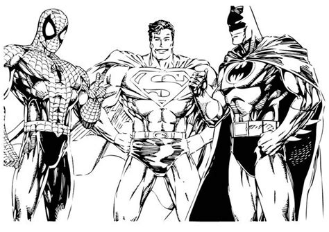 Batman, Spiderman And Superman Coloring Pages