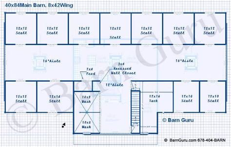 Barn 3 Layout. 11 Stalls With Own Runs. Boarding/family