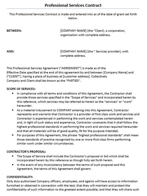 sample professional  service agreement templates