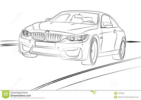 Car Line Art Stock Vector