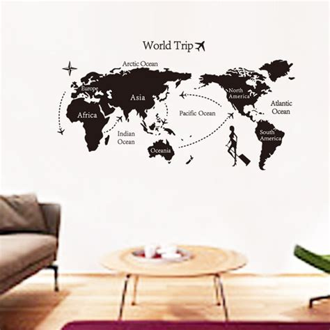 fashion travel world map pattern wall sticker for livingroom bedroom decoration in black