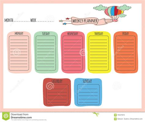 cute weekly planner stock vector image
