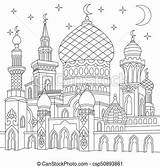 Mosque Islamic Moschea Zentangle Coloring Stylized Drawing Ramadan Clipart Islamico Stilizzato Moons Twinkling Crescent Turkish Traditional Stars Colorare Canstockphoto sketch template