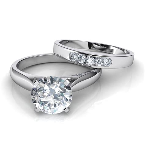 wedding bands with engagement ring tapered cathedral solitaire engagement ring wedding band