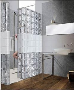 Douche brique de verrejpg salle de bain pinterest for Salle de bain design avec billes de verre décoratives