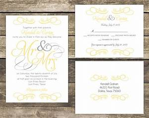 printable wedding invitation suite diy mr and mrs yellow With wedding invitations wording mr and mrs