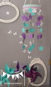 mobile suspension etoiles turquoise gris et violet mauve With chambre violet et gris