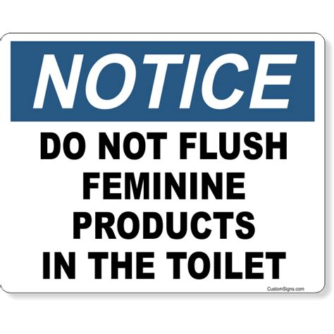 notice   flush feminine products  toilet full color