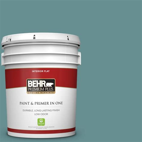 behr premium plus 5 gal 500f 6 hallowed hush flat low odor interior paint and primer in one