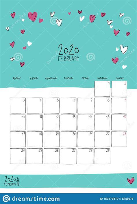 February 2020 Doodle Wall Calendar Stock Vector