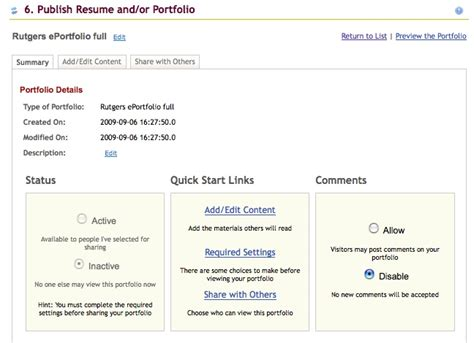E Portfolio For Resume by If You Want To Use The Pre Designed Eportfolio Templates Click Rutgers Eportfolio And Then