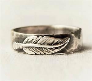 Sterling silver feather ring hammered band hand forged for Feather wedding ring