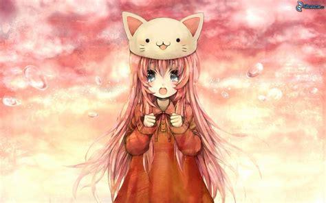 anime girl orange hair blue eyes cat hat crying wallpaper