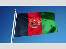 Afghan Flag Waving Over A Blue Cloudy Sky Stock Footage