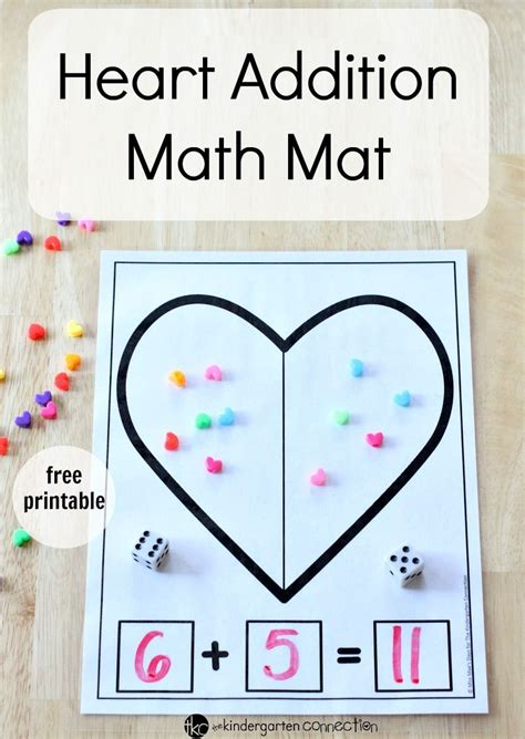 printable valentine s heart addition math mat math count and students