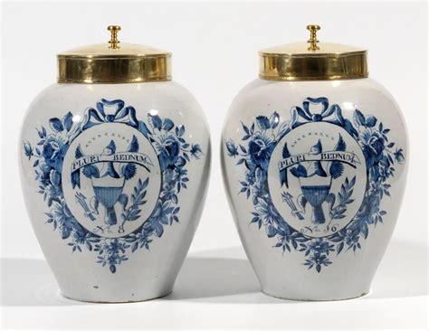 sale antique delftware blue  white tobacco jars