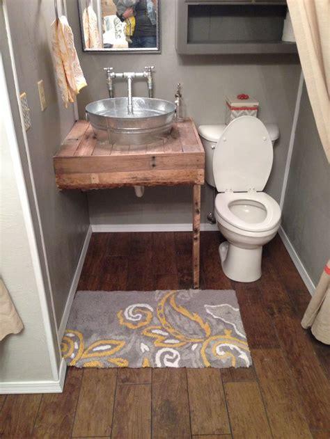 porcelain plank floor pallet vanity galvanized sink