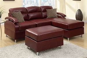 poundex kade f7686 red leather sectional sofa and ottoman With red leather sectional sofa with ottoman