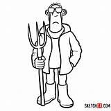 Sheep Shaun Farmer Draw Drawing Step Cartoon Cartoons Characters Clipartmag Tutorials Sketchok sketch template
