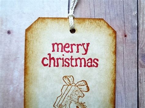 Christmas Mouse Gift Tags Rustic Vintage Style By
