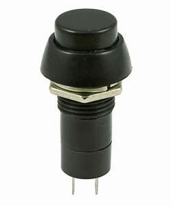 Black Round On  Off Latching Push Button Switch Spst